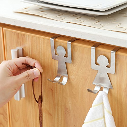 Over Cabinet Door Double Hooks, Stainless Steel Clothes Coat Hat Towel Holder Rack Hanger for Office Bathroom Kitchen (Cute Human, Set of 2)