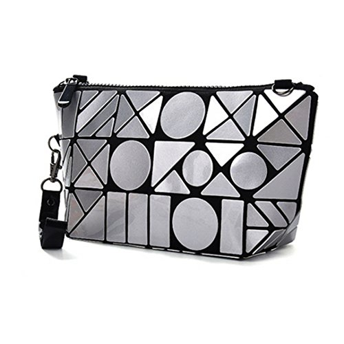PU Wristlet Crossbody Handbag Grey Bag AiSi Pattern Women's Geometric Clutch pqWgI