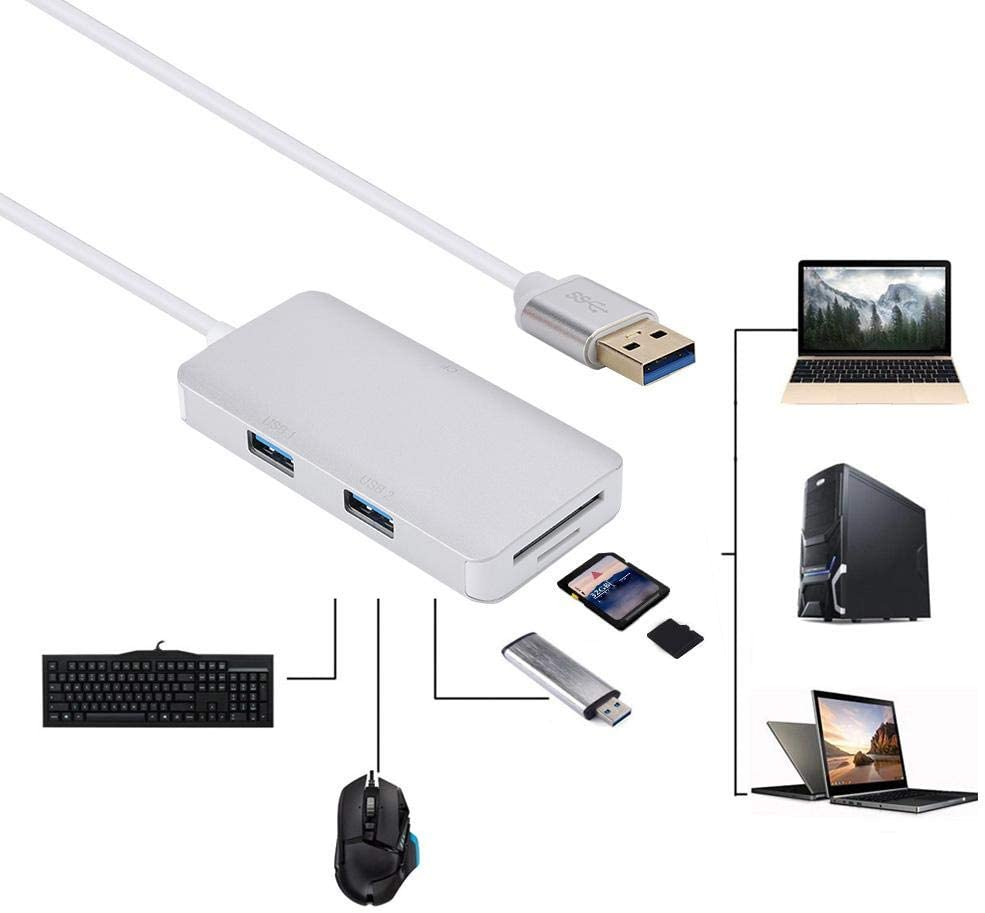 5in1 Card Hub Adapter Plug and Play USB3.0x2+Memory Card//TF+CF Card Reader for WindowsXP//7//8//10//Vista//Linux fo sa Multi-Function TF Card Reader USB 3.0