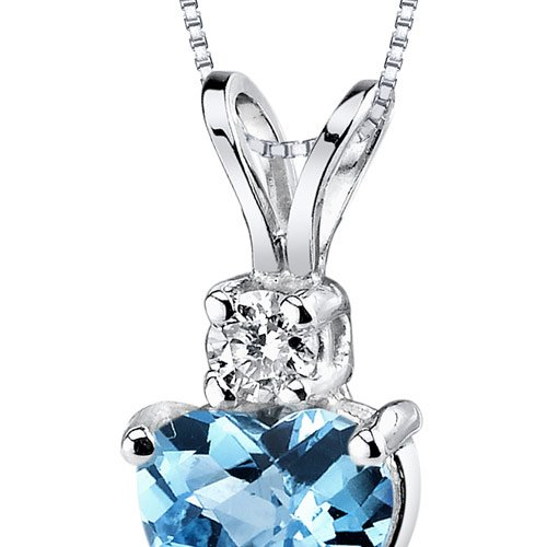 14 Karat White Gold Heart Shape 1.00 Carats Swiss Blue Topaz Diamond Pendant by Peora (Image #1)
