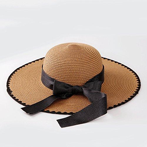 Sllxgli Large straw hat ladies hat personalized bow wave summer sun hat -