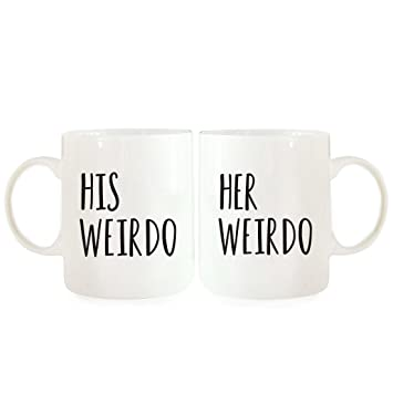 andaz press coffee mugs gift set his weirdo her weirdo 2 pack