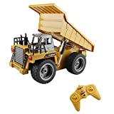 Fistone RC Dumper 6CH 2.4G Alloy Mine Truck Automatic Self-Discharging Games Toy Electronic Remote Controlled Vehicle With LED Lights Engineering Machinery Car Model