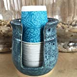 Ceramic Cup Holder - Peacock Blue FREE SHIPPING