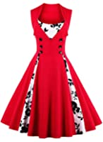 Ayli Women's Sleeveless 1950s Retro Hollywood Halloween Christmas Costume Party Midi Swing Dress