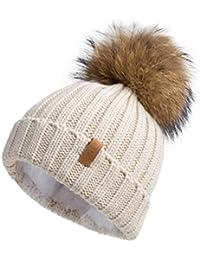 Women Knit Winter Turn up Beanie Hat with Fur Pompom VC17604