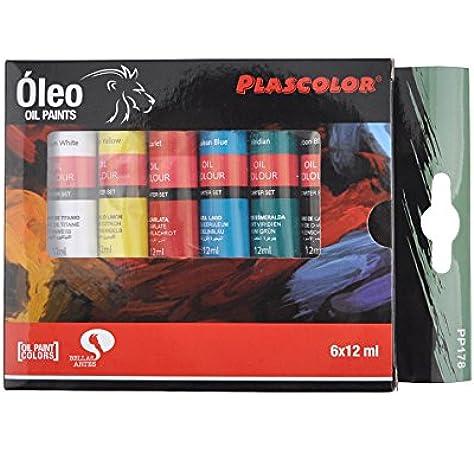 Plascolor PP178 - Pack de 6 tubos de pintura oleo, multicolor: Amazon.es: Oficina y papelería