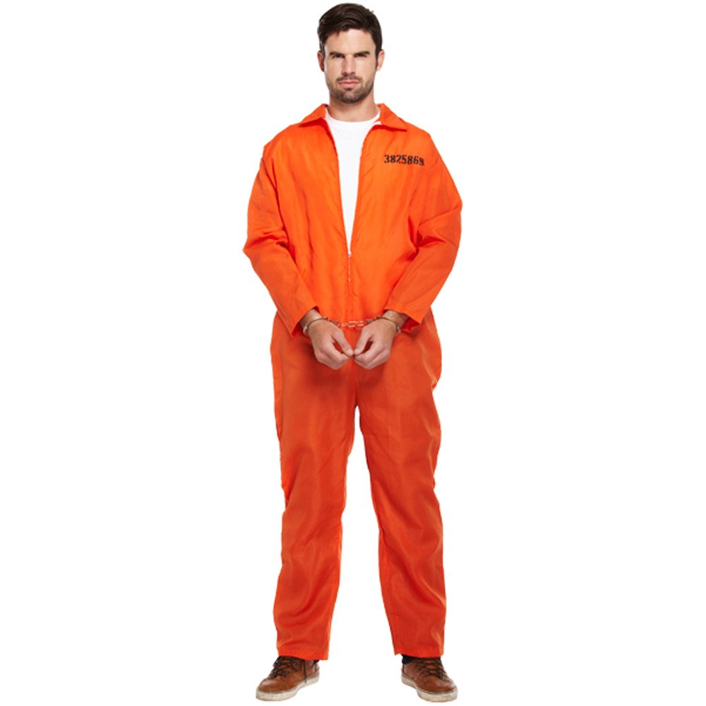 Mens Prisoner Orange jumpsuit Convict Overalls Fancy Dress Halloween Blood Cuffs