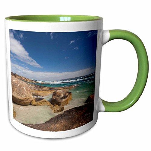 3dRose Danita Delimont - Australia - Australia, Denmark, Greens Pool, Wave - 11oz Two-Tone Green Mug (mug_226414_7) (Wave 7 Cover Pool Table)