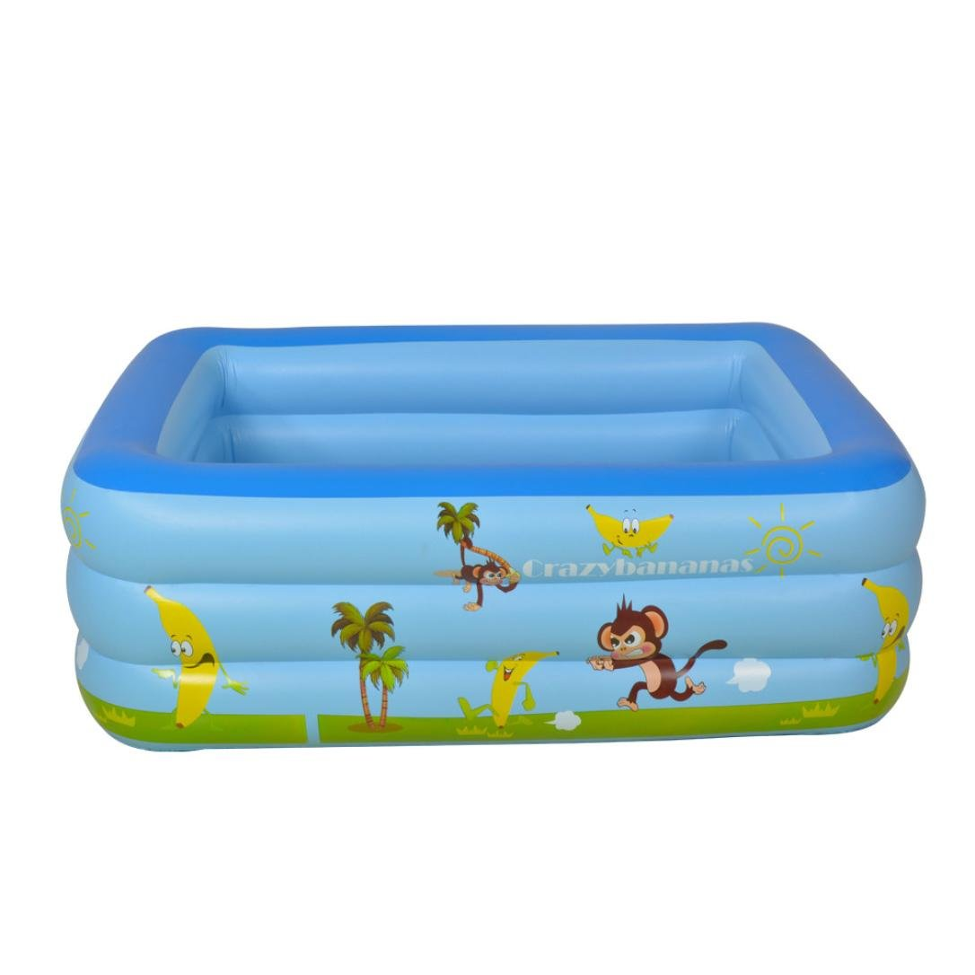 Auwer Large Inflatable Swimming Pool, Giant Family Swim Rectangular Pool Kids Water Play Fun for Ages 3+ (Blue)