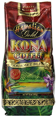 Kona Hawaiian Gold  Kona Coffee, Epicure Blend Ground Coffee, 10 Ounce