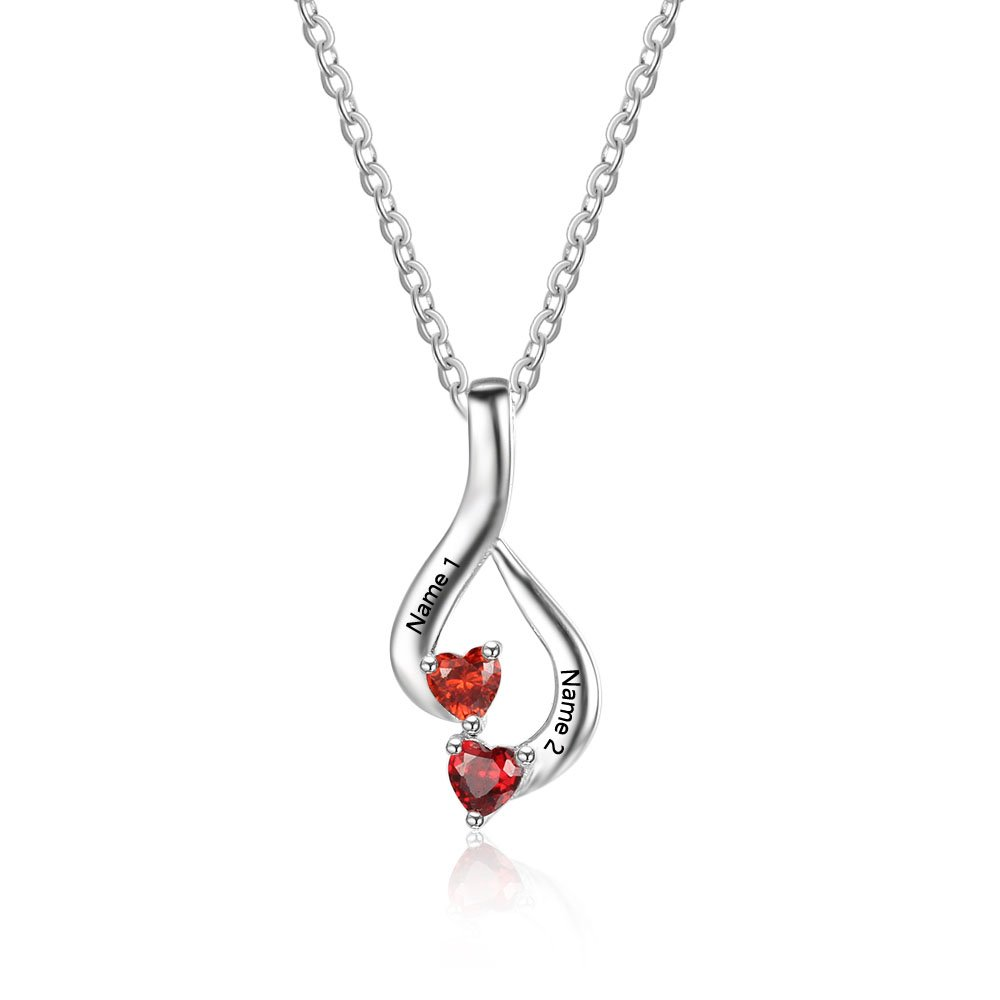 Love Jewelry Personalized 2 Heart Simulated Birthstone Mothers Pendant Necklace with 2 Names Family Pendants for Mother Lovejewelry
