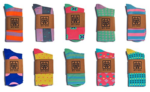 Men's Premium Over-The-Calf Xtra Stretch Colorful Dress Socks, Dapper Gentleman's 10-Pack by Wits+Beaux … by Wits + Beaux (Image #3)