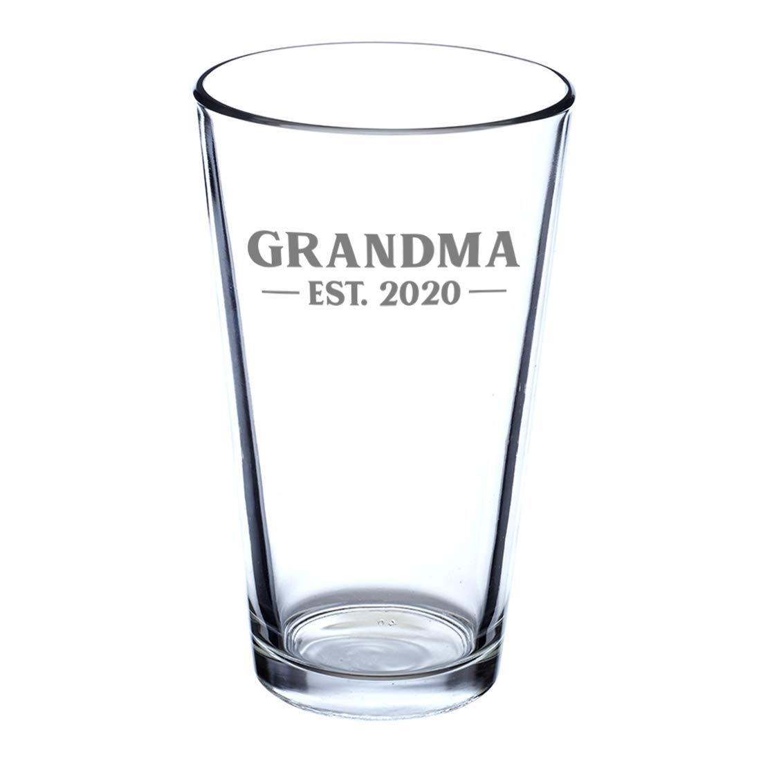 New Grandmother Pint Glass Gift for Beer Drinking First Time Grandparents Bold 16 oz Glasses Grandma Est 2020 Custom for Kay