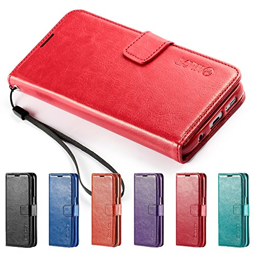 Price comparison product image Galaxy S7 Edge Case,  HLCT PU Leather Case,  With Soft TPU Protective Bumper,  Built-In Kickstand,  Cash And Card Pockets,  For Samsung Galaxy S7 Edge (Red)