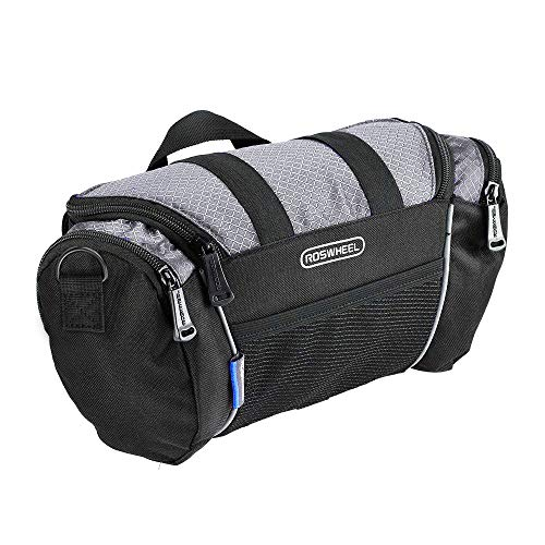 Bicycle Bag Handlebar - Allnice 11491 Portable Waterproof Durable 4L Reflective Bicycle Handlebar Bag Quick Release Bike Front Top Frame Pouch Front Pannier Tube Basket Bag Cycling Bag(Silver+Black)