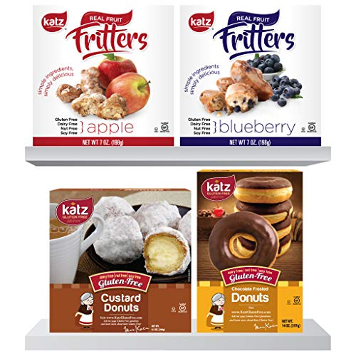 Katz Gluten Free Variety Pack | 1 Apple Fritter Bites, 1 Blueberry Fritter Bites, 1 Custard Donuts, 1 Chocolate Frosted Donuts | Dairy, Nut, Soy and Gluten Free | Kosher (1 Pack of each) ()