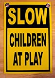 "1Pc Heart-stopping Modern Slow Children at Play Signs Outdoor Decal Park Declare Property Size 8"" x 12"" Yellow with Grommets"