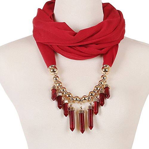 LERDU Women's Bullet Pendant Scarf Necklace Bar Fringe Infinity Jewelry Scarves Early Spring (Claret)