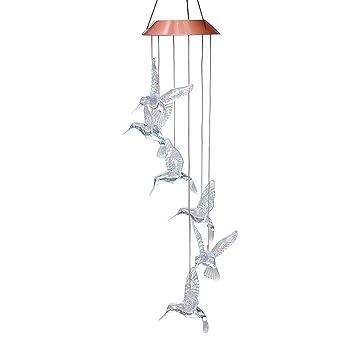 AGPtek LED Color Changing Wind Chimes Hummingbird Solar Lights Mobiles  Windlights For Outdoor Indoor Garden Patio