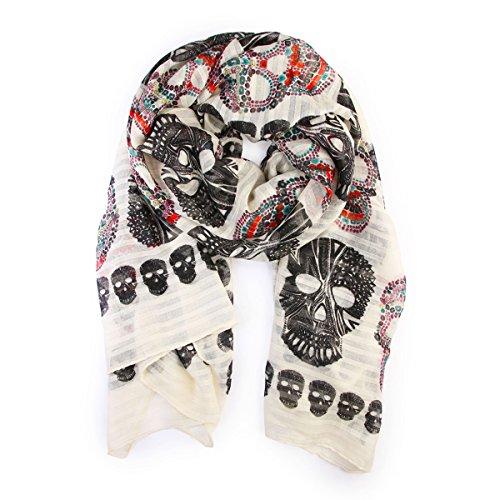 Sugar Skull Ideas For Halloween (Bohemian Sugar Skull Print Scarf Shawl Wrap - Lightweight Colorful Calavera Women's Oblong, Infinity Circle Wrap Scarves (Oblong -)