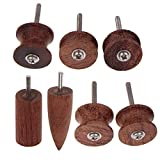 Ogrmar 7 Stlye Coco Bolo Leather Burnisher leather slicker Tool Electric Polished Head (Wood)
