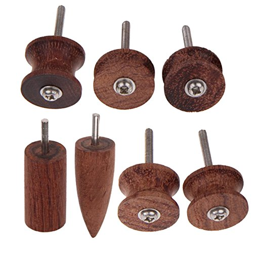 Ogrmar 7 Stlye Coco Bolo Leather Burnisher leather slicker Tool Electric Polished Head (Wood) (Wood Burnisher)