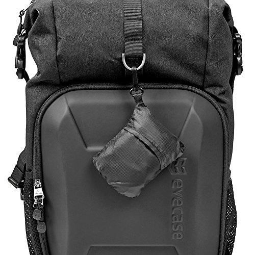 51jOQsUlF8L - Camera Bag, Evecase Shell DSLR Camera/15.6-inch Laptop Double Buckle Water Resistant Backpack Travel Rucksack w/Rain Cover for Nikon Canon Fujifilm Sony Digital SLR, Mirrorless Camera - Black