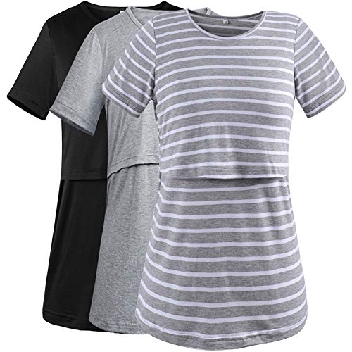 2f813775a0c08 PrettyLife Women's Maternity Nursing Tops Short Sleeve Double Layered  Breastfeeding T-Shirts 3-Pack