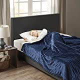 Woolrich Ultra Soft Knitted Plush Reverse to Sherpa Auto Shut Off Electric Blanket with Two 20 Heat Level Setting Controllers King: 100x90' Indigo