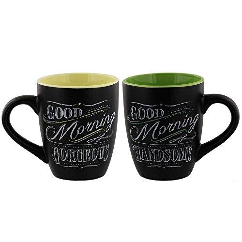 Novelty Coffee Tea Mug Set - Chalk Talk Good Morning Gorgeous and Handsome - Set of 2 Mugs