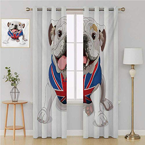 Benmo House English Bulldog grummet Curtain Room Darkening Blackout,Happy Dog Wearing a Union Jack Vest Cartoon Style Animal Design Drapes Panels 96 by 108 Inch Cream Navy Blue ()