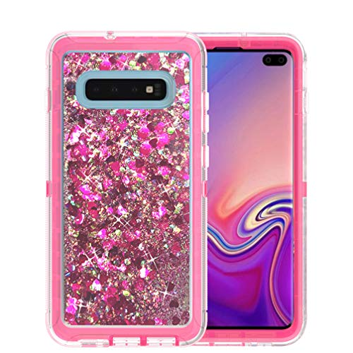 Anyos Compatible with Galaxy S10 Plus Case, 3 in 1 Heavy Glitter Bling Sparkle Duty Shockproof Full Body Protective Shell Suit for Girls Woman for Samsung Galaxy S10+ (Rose ()