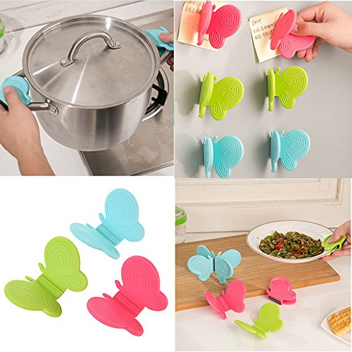 Adorable Butterfly-Shaped Silicone Anti-Scald Device Kitchen Tool Gadget (Red Toaster Oven Kitchenaid compare prices)