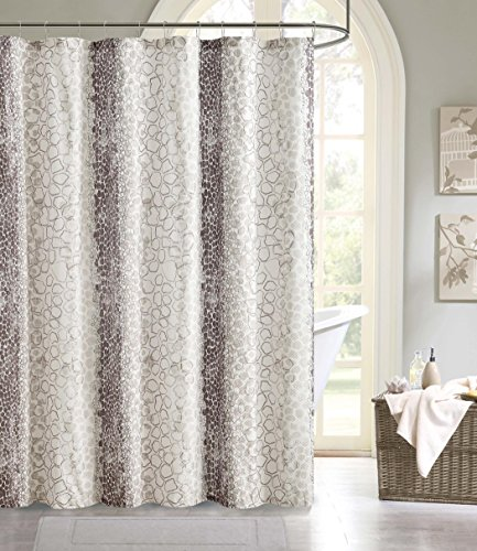 "Price comparison product image Modern Elegance Embossed Microfiber Shower Curtain 72"" x 72"" Pebble Beach - Grey / Black"