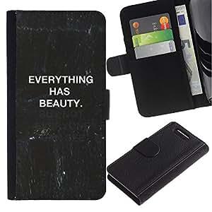 For Sony Xperia Z1 Compact / Z1 Mini / D5503,S-type® Quote Blackboard Black White Text - Dibujo PU billetera de cuero Funda Case Caso de la piel de la bolsa protectora