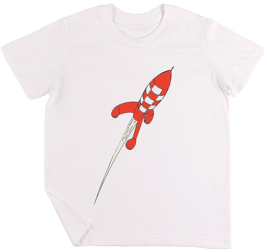 Tint/ín Destino Luna Cohete Ni/ños Chicos Chicas Unisexo Camiseta Blanco