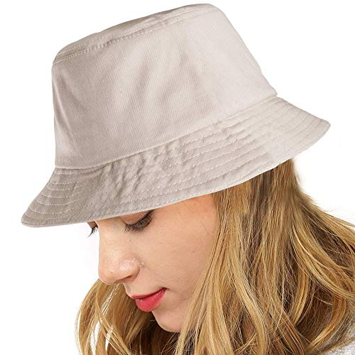Cubyee Sun Protection Bucket Hat, Women Men Cotton Canvas Hat, Fisherman Cap Gifts (Beige&White)