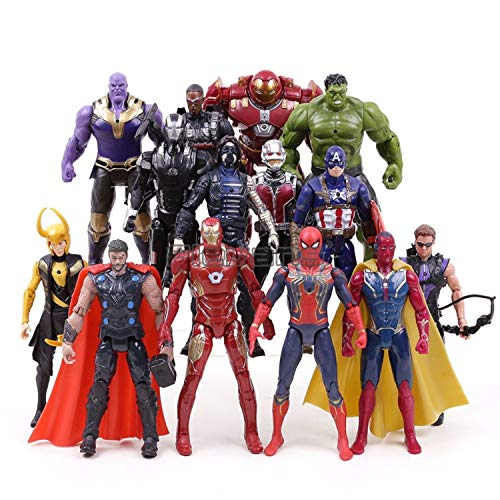 PAPWELL Set 14 Avengers Action Figures 7 inch Hot Toys Marvel Legends Thanos Hulk Iron Man Captain America Hulkbuster Thor Hawkeye Spiderman Antman Wasp Vision War Machine Falcon Winter Soldier Toy