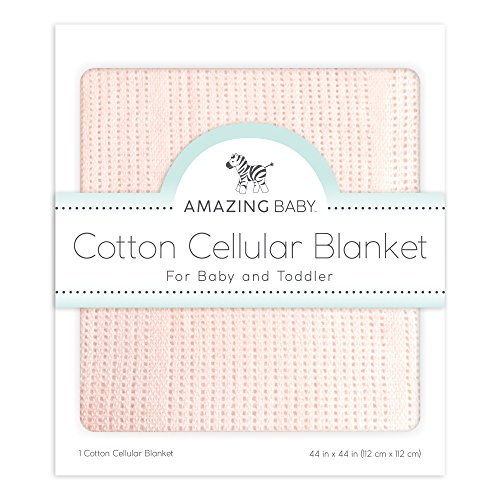 Amazing Baby Cellular Blanket, Premium Cotton, Sunwashed Pink (Cotton Blanket Sunwashed)