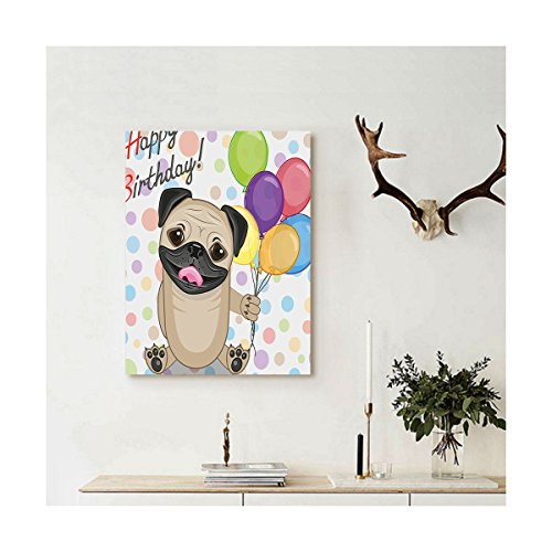 Liguo88 Custom canvas Birthday Decorations for Kids Animal Cute Dog Smiling Pug with Party Balloons Greeting Card Wall Hanging for Multicolor by Liguo88 (Image #2)