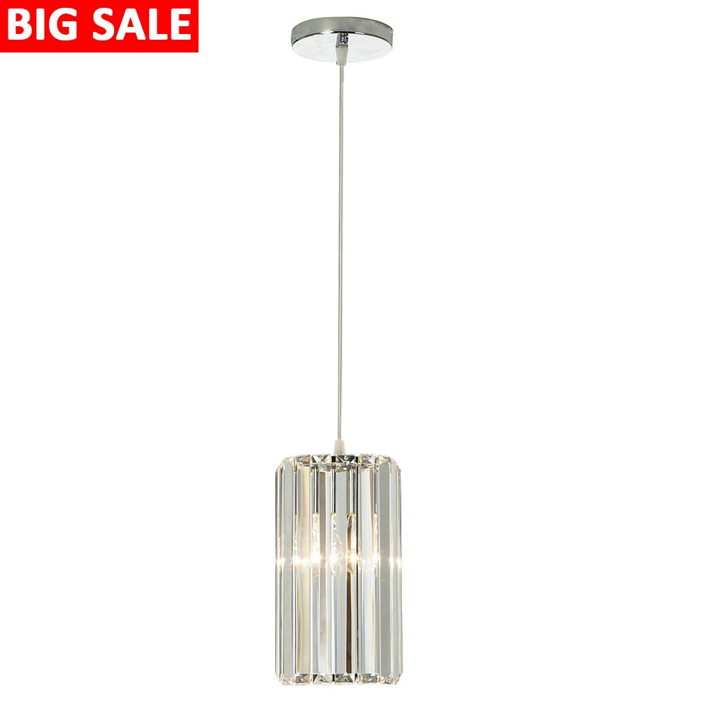 Delica Home Clear Crystal Pendant Lighting, Adjustable Cylinder Pendant Light Fixture For Bedrooms Closets Study Rooms, 1-Bulb Pendant Lighting