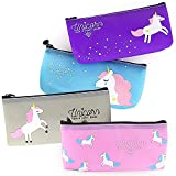 Unicorn Pencil Case - 4 Pack High Capacity Cute Pencil Pouch Holder School Stationery Multifunction Cosmetic Makeup Bag, Perfect Zipper Plastic Pencils and Pens Box for Girls by YOUSHARES