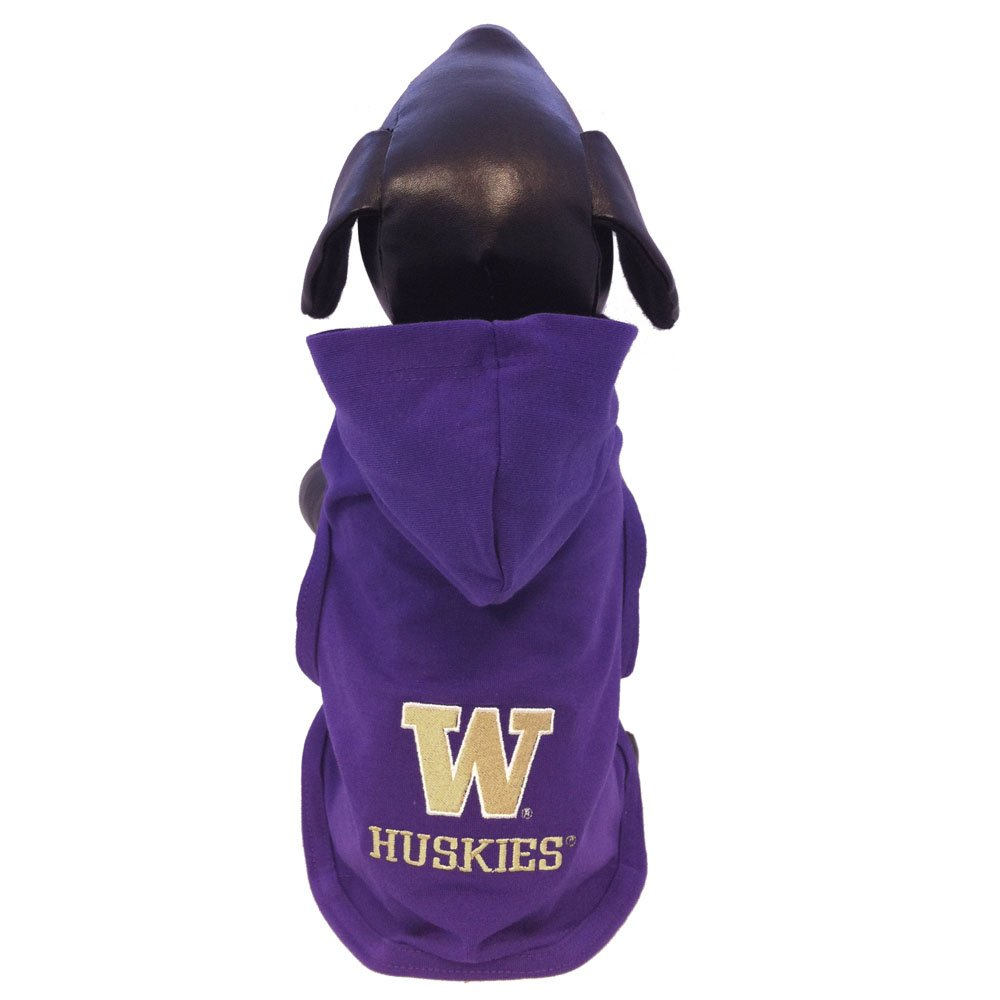 Medium NCAA Washington Huskies Cotton Lycra Hooded Dog Shirt