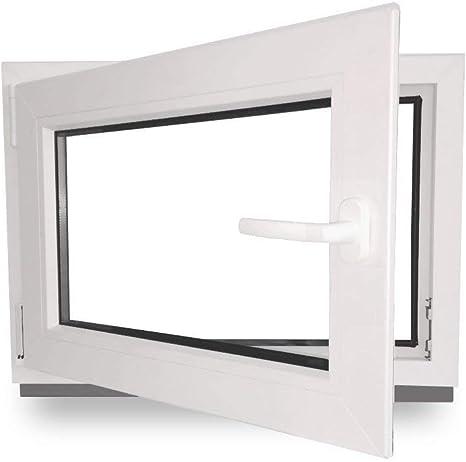 ALLE GR/Ö/ßEN Premium PVC - Fenster wei/ß Dreh-Kipp 2 fach Verglasung Kellerfenster BxH:60x110 cm DIN Links Kunststoff
