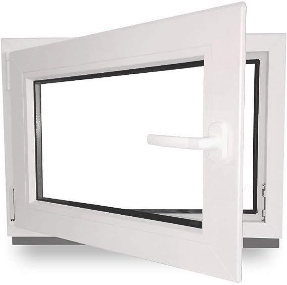 Kellerfenster Kunststoff Fenster BxH: 70 x 50 cm Lagerware wei/ß DIN links 3-fach-Verglasung