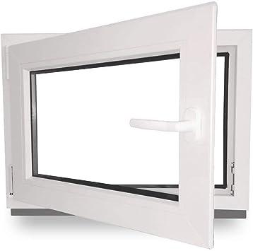 DIN Rechts 60 mm Profil BxH: 100 x 50 cm Fenster 3 fach Verglasung wei/ß Kellerfenster Kunststoff 1000 x 500 mm
