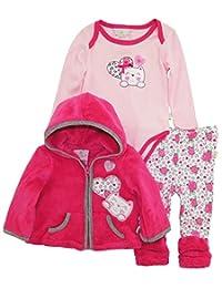 Duck Goose Baby Girls Little Kitty Sherpa Jacket Bodysuit Roses Legging Pant Set, Pink, 0-3 Months