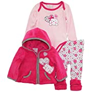 Duck Goose Baby Girls Little Kitty Sherpa Jacket Bodysuit Roses Legging Pant Set, Pink, 6-9 Months