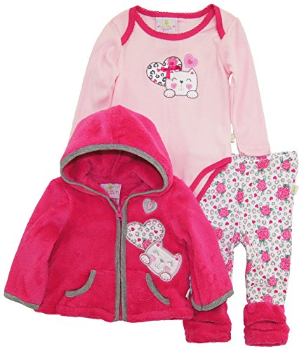 Swim Little Duck (Duck Goose Baby Girls Little Kitty Sherpa Jacket Bodysuit Roses Legging Pant Set, Pink, 3-6 Months)